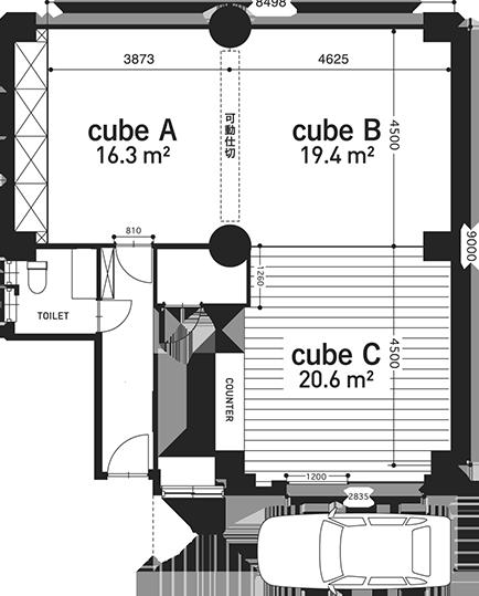 PLAN 3つのキューブで自在なスペーシング